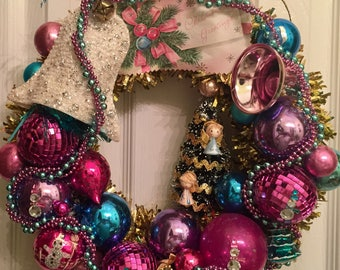 Sequined Bell Pink & Turquoise Vintage Wreath