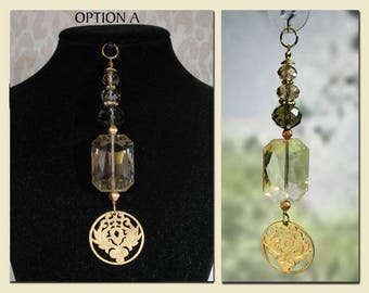 "Sun Catcher Pendant, ""Lotus Leaf"", Jewelry for Window or Wear,  Gift, Garden, Souvenir, Fashion Accessory, Ornament."