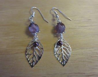 Purple leaf earrings