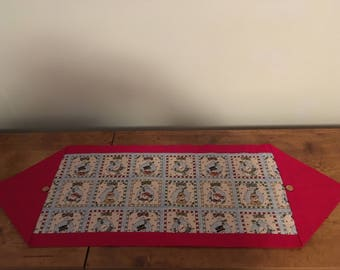 Snowman table runner (red)(small button)