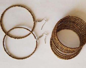Ancient gold bracelet and earrings set