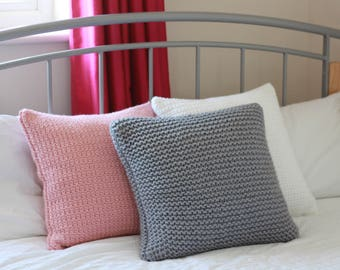 Knitted Chunky Cushion with Wool- Grey
