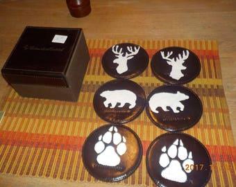 leather coasters set
