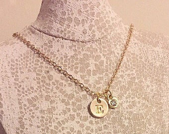 18k gold plated chain with initial and heart rhinestone charm necklace.