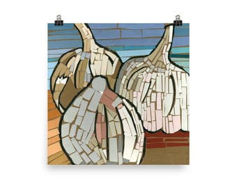 Garlic Mosaic - Beautiful Archival Cotton Rag Fine Art Giclée Print Supporting the Nonprofit Fresh Artists