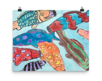 Colorful Koi Fish Kites - Beautiful Archival Cotton Rag Fine Art Giclée Print Supporting the Nonprofit Fresh Artists