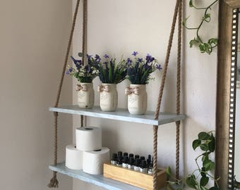 Small Bathroom Shelf. Wood and Rope Hanging Shelves  Bathroom shelves Small Storage Entry Way Etsy