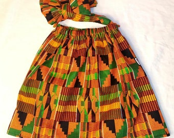 African skirt/kente skirt/African babygirl clothes/baby set/Head wrap/Newborn clothes/African clothing/Ankara skirt/Kente Fabric/Girl skirt/