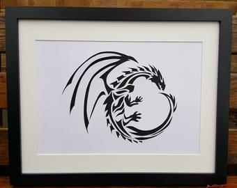 Dragon picture - handmade papercut silhouette dragon unframed wallart.