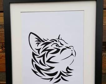 Cat picture - handmade papercut cat silhouette wall art unframed.