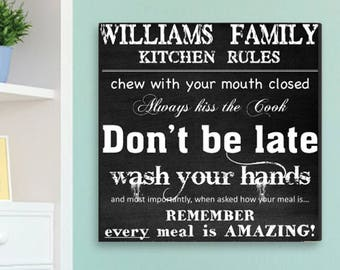 Personalized Family Kitchen Rules Canvas Print - Kitchen Wall Prints - Kitchen Wall Decor - Personalized Kitchen Rules Print - Kitchen Decor