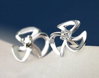 Flower earrings, Silver earrings, 925 sterling silver earrings, Stud earrings, Womens earrings, Cute earrings, Cheap jewelry, Gift her, E26