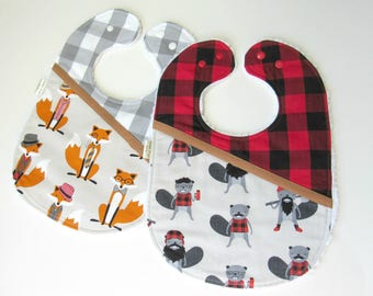 Chenille bibs for boys-Beavers bib-Foxes baby bib-Baby bibs for boys-Baby bibs-Baby boy gift-Baby shower gift