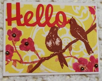 Hello Bird yellow and Brown Greeting Card, Sparkle Greeting Card, Handmade Greeting Card, Made in the USA, #181