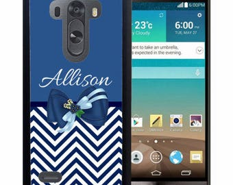 Personalized Rubber Case For LG  3, 4, 5, 6 - Blue Chevron Bow