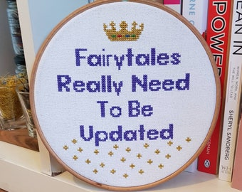 Fairytales Need Updating, Feminist Wall Art, Embroidered Quote