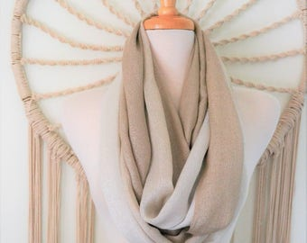 Date Night - Metallic Taupe Ombre Infinity Loop Scarf, Metallic Circle scarf, Ombre, Sparkly Scarf, Womens fashion scarves, boho, Taupe