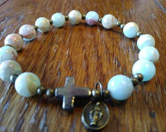 Rosary Stretch Bracelet, Aqua Terra Jasper Print Glass Beads