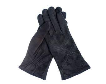 women suede lambskin gloves lined
