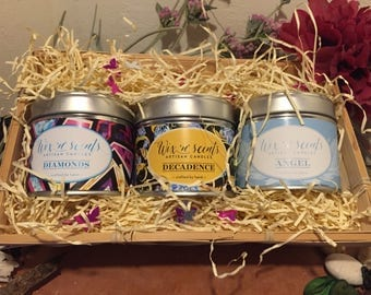 Candle hamper of perfume candles