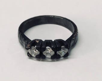 Silver Ring 925 rhodium-plated black silver ring
