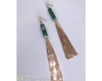 Hand Made: long Tassel Earrings - Green
