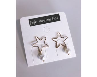 Star Earrings With Drop Pearl