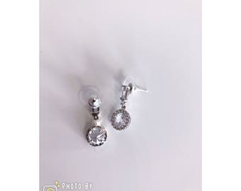 Crystal Drop Earrings With 925 Sliver