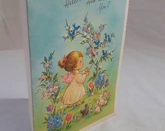 Get Well/Recovery Greeting Card Unused/Unmarked Numbered Vintage Mid-Century