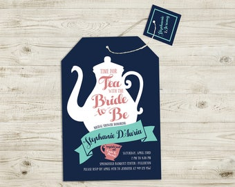 Bridal Shower Invitation, Tea with the Bride, Tea Party Invitation, Wedding, Bride, Shower