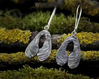 Nature Earrings - Oxidized Silver Earrings - Rustic Earrings - Seedpod Earrings - Unique earrings - Sterling Silver Earrings