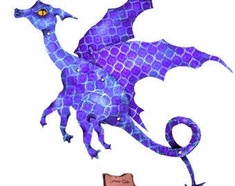 Periwinkle Dragon, paper doll, paper fairy, art doll, paper dragon blue dragon, digital Download, articulated, posable