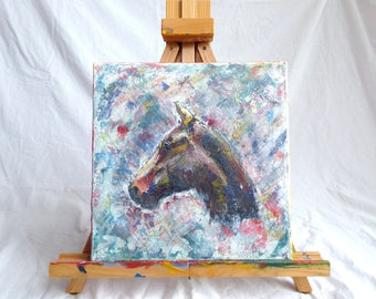 """Original acrylic horse head painting on 12"""" by 12"""" canvas"""