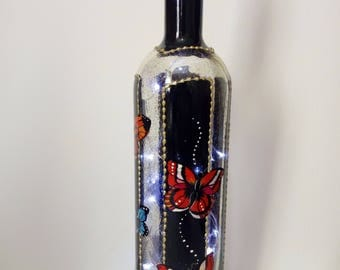 Stunning hand painted liqueur bottle lamp in with butterflies