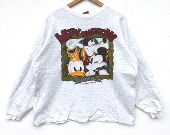 Mickey mouse Disney Sweatshirt Silver colour Big Logo Embroidery Sweat Medium Size Jumper Pullover Jacket Sweater Shirt Vintage 90's