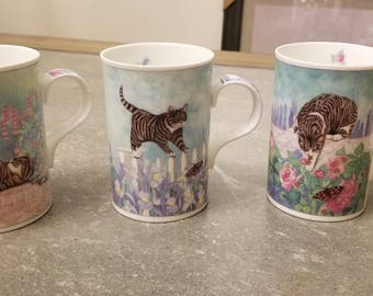 Wren fine bone china mugs/cups set. Made in England