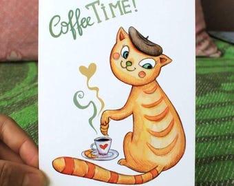 Coffe time print card, greeting card, anniversary card, holiday greeting card, car with coffe