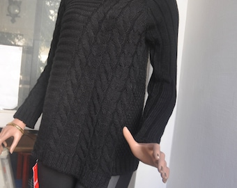 Sweater, sweater knitted  women, knitted  pullover, black knitted  sweater   collection 2018.