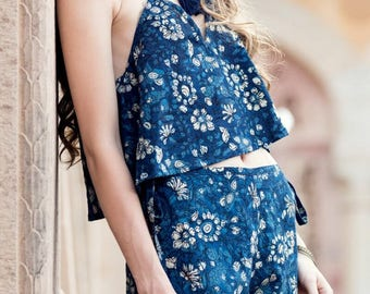Boho Blue Floral Cami Top and Shorts Twin Set