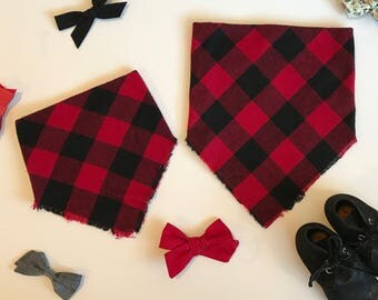 Red Buffalo Check Infant and Toddler Blanket Scarf Bandana Bib, baby shower gift, baby bib, expectant mother gift