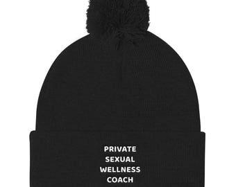 Private sexual wellness coach Pom Pom Knit Cap