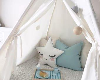 Luxury 100% cotton canvas kids teepee, bedroom or playroom tent
