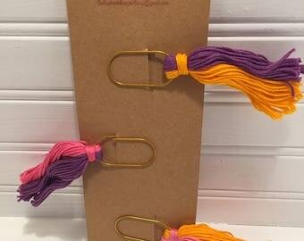 Tassle Paperclip Bookmarks- Bright Pink, Purple & Orange