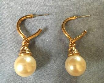 Vintage Gold & Pearl Earrings