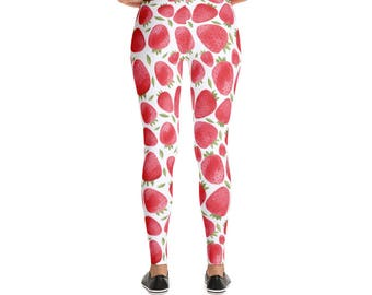 Womens Strawberry Leggings - Ladies Watercolor strawberries pants - Adult leggings - fruits