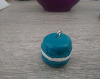 Pendant blue polymer clay macaron