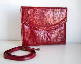 Red genuine snakeskin vintage clutch handbag with shoulder strap