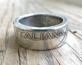 Italian 500 Lire 1961 Coin Ring - Handmade Rings from Coins - Jewelry - Italian jewelry - silver coin ring