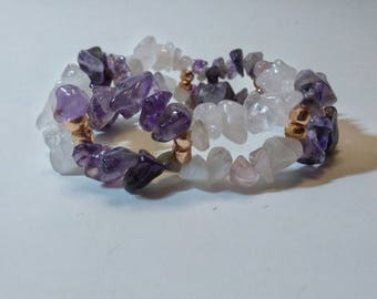 Amethyst and Pink Quartz stylish youth chipped gemstones bracelet, color & rich texture chipped stone for her, gift for loved one