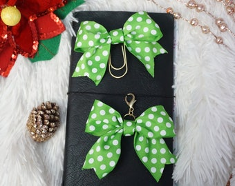 green and white polka dot bow paperclip or TN bow